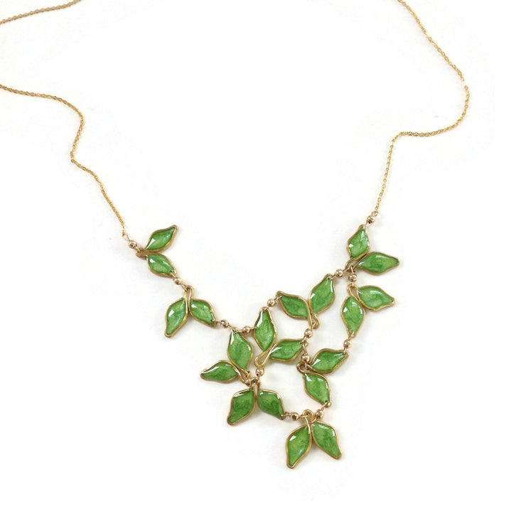 Anthos Leaf Bib Necklace Olive Mica