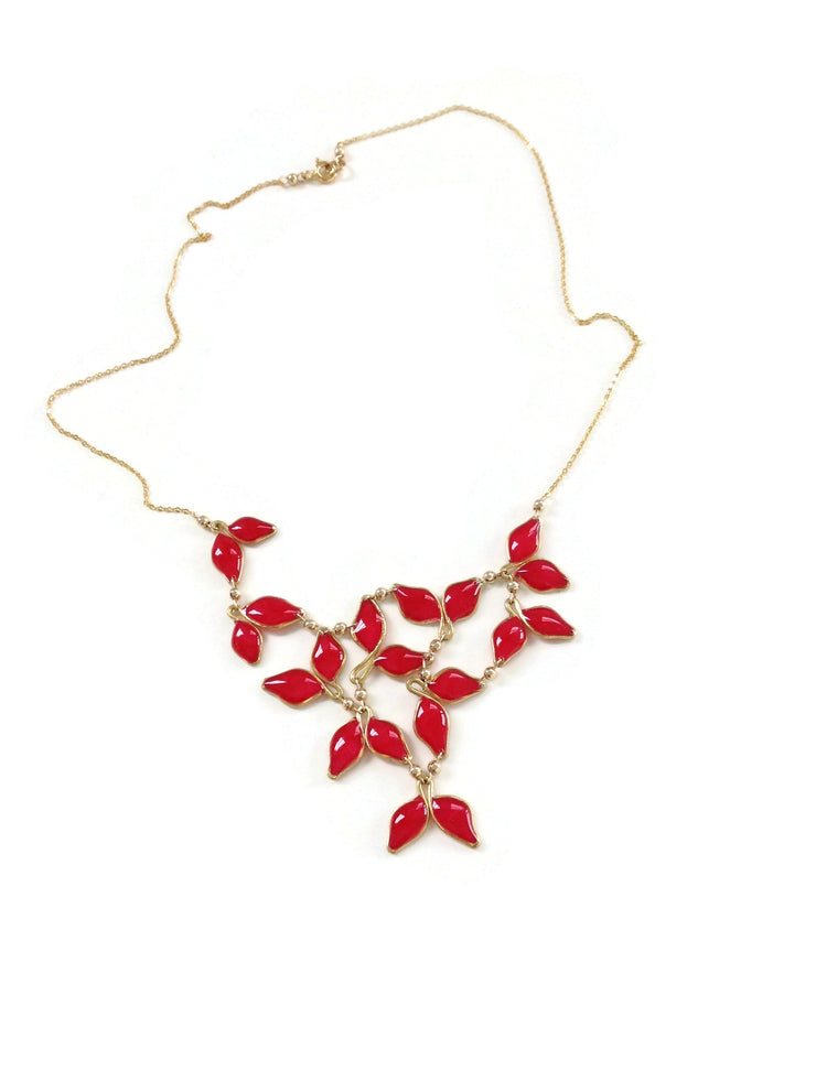 Anthos Leaf Bib Necklace Red Mica