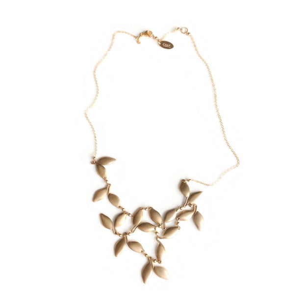 Solid Bronze Leaf Bib Necklace