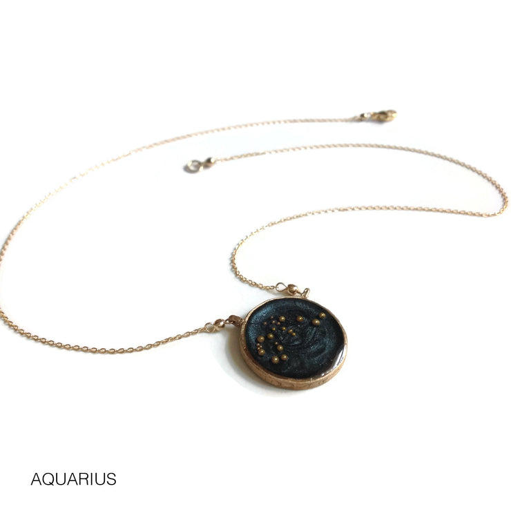 Aquarius Constellation Necklace Night Sky