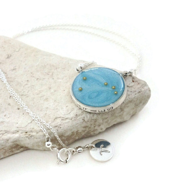 Aries Constellation Necklace Sky Blue | Sterling Silver Aries Zodiac Sign Necklace | Aries Necklace | Aries Gifts | Astrology Necklace | Carla De La Cruz Jewelry