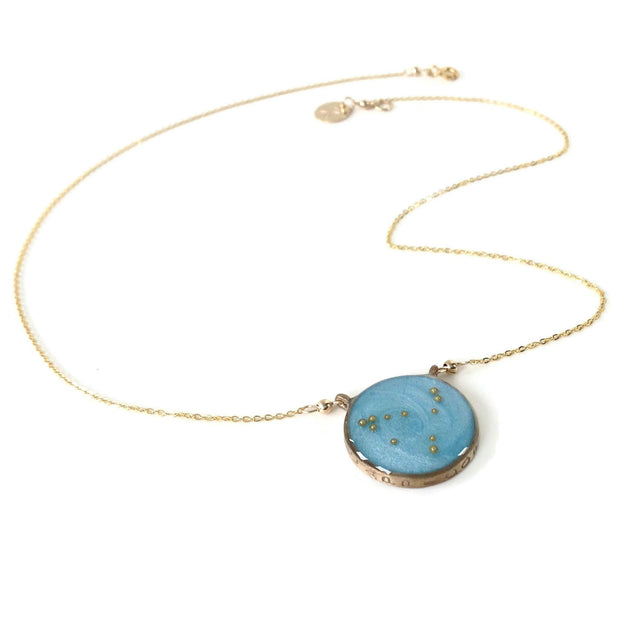 Gold Capricorn Necklace Sky Blue | Capricorn Constellation Necklace | Capricorn Zodiac Necklace | Astrology Necklace | Capricorn Gifts