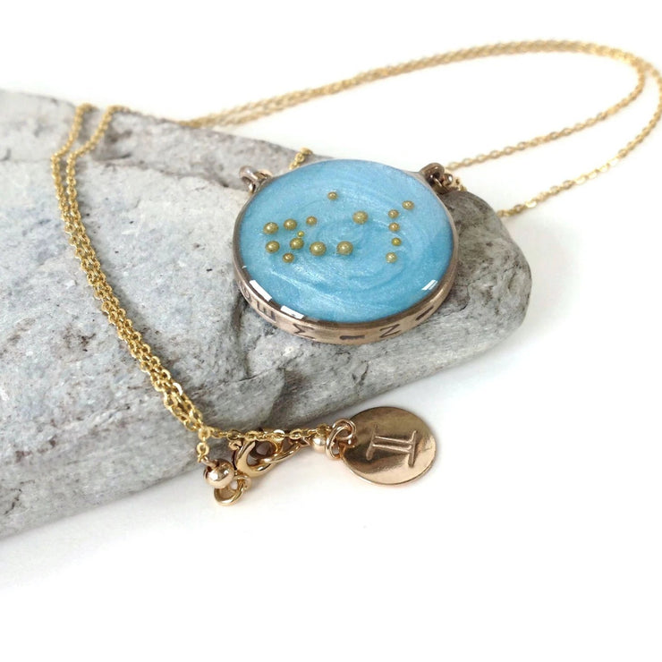 Gemini Constellation Necklace Sky Blue | Gold Gemini Zodiac Necklace | Gemini Necklace | Zodiac Sign Jewelry | Gemini Gifts | Astrology Necklace