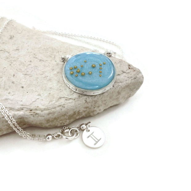 Gemini Constellation Necklace Sky Blue | Silver Zodiac Necklace | Gemini Necklace | Zodiac Sign Jewelry | Gemini Gifts | Astrology Necklace