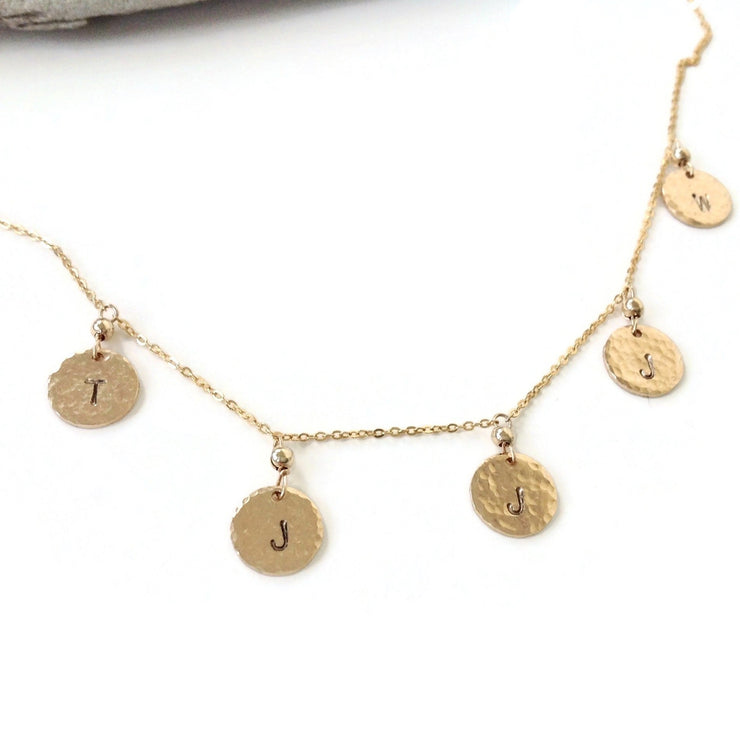 Multi Charm Necklace | Gold Initial Necklace | Family Charm Necklace | Personalized Mother's Necklace