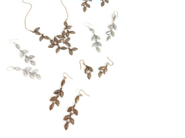 Anthos Leaf Bib Necklace Solid Silver