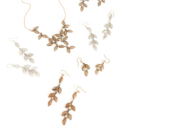 Anthos Leaf Bib Necklace Solid Bronze