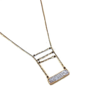 Geometría Druzy Rectangle Bar Necklace