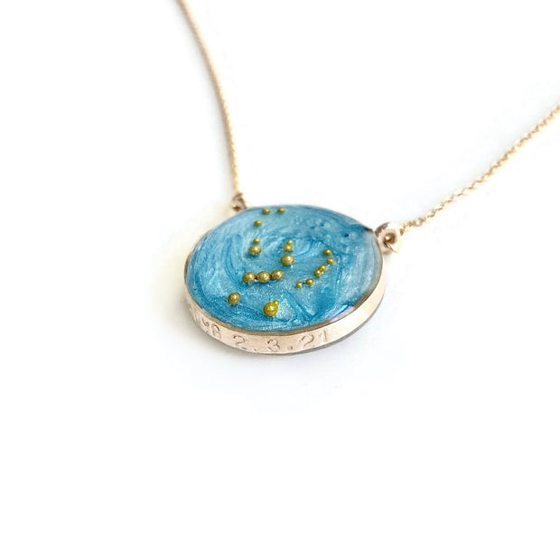 Orion Constellation Necklace with custom stamping on sky blue background