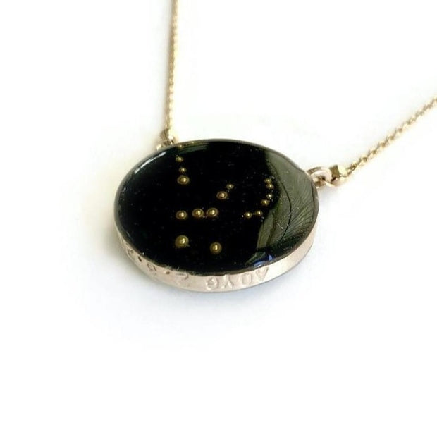 Orion Constellation Necklace with custom stamping on night sky background