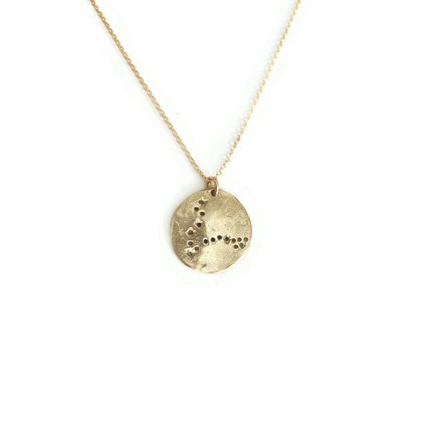 Handmade Brass Pisces constellation coin necklace