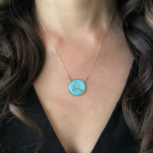 Pisces Constellation Necklace Sky Blue