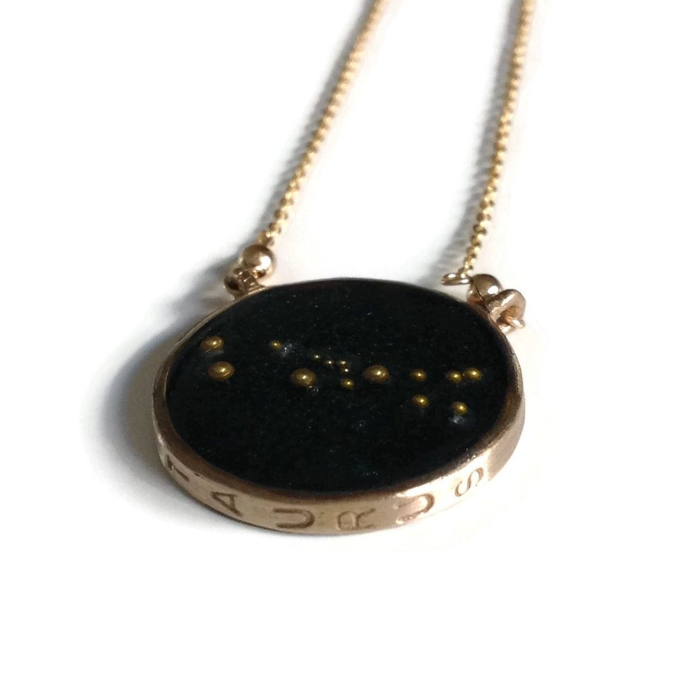 Taurus Constellation Necklace Night Sky | Taurus Zodiac Necklace Gold | Taurus Necklace | Celestial | Astrology Necklace | Taurus Gifts