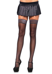 Sheer Thigh Highs with Striped Stay Up Top