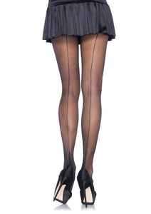Sheer Black Cuban Heel Tights with Back Seam