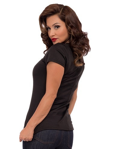 Piped Sophia Top in Black