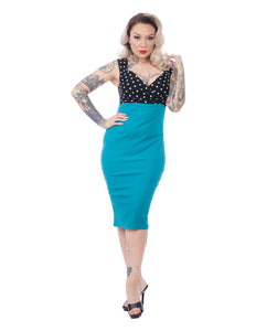 Spotted Diva Wiggle Dress in Jade and Black