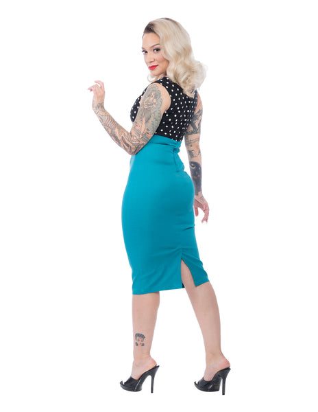 Spot On Diva Dress in Black and Jade