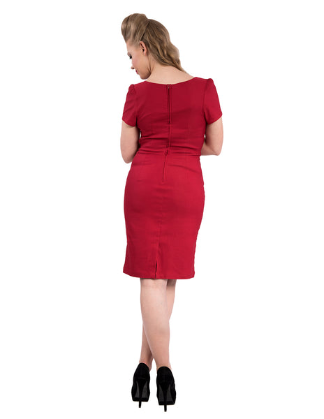 Cat's Meow Wiggle Dress in Red