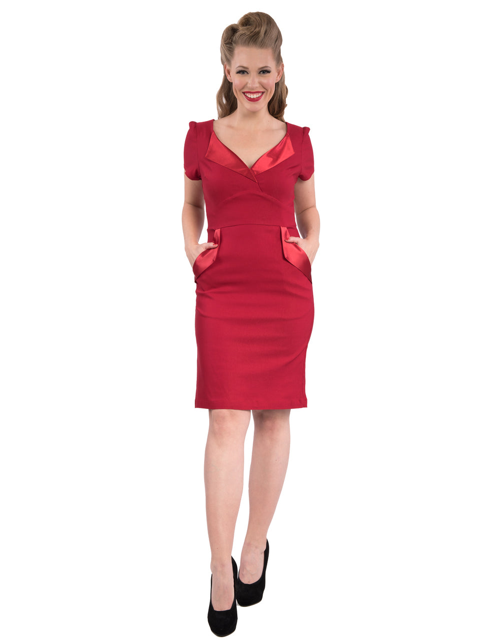 Red 1950's Cat's Meow Wiggle Dress