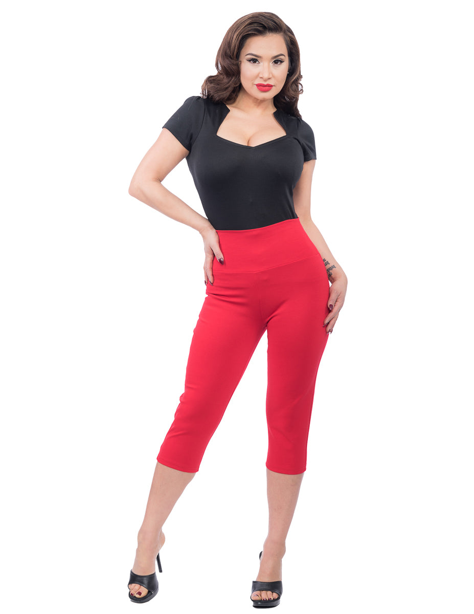 Audrey Rockabilly Capri Pants in Red