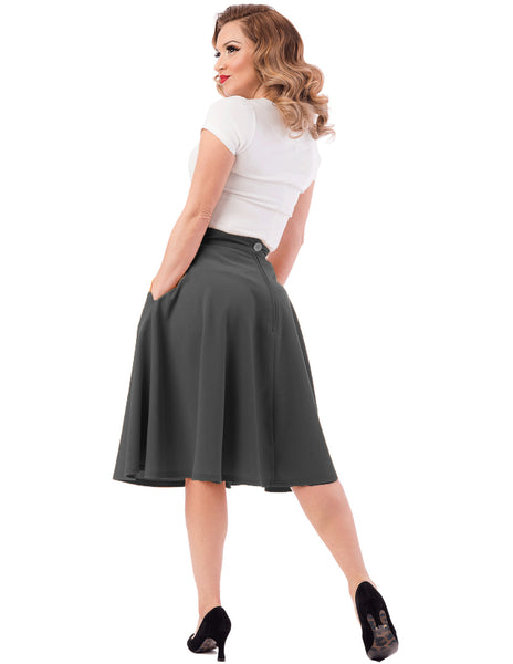 High Waist Thrills Skirt with Pockets in Charcoal