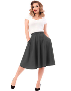 f2f052bcf High Waist Thrills Skirt with Pockets in Charcoal – Blind Tiger Boutique