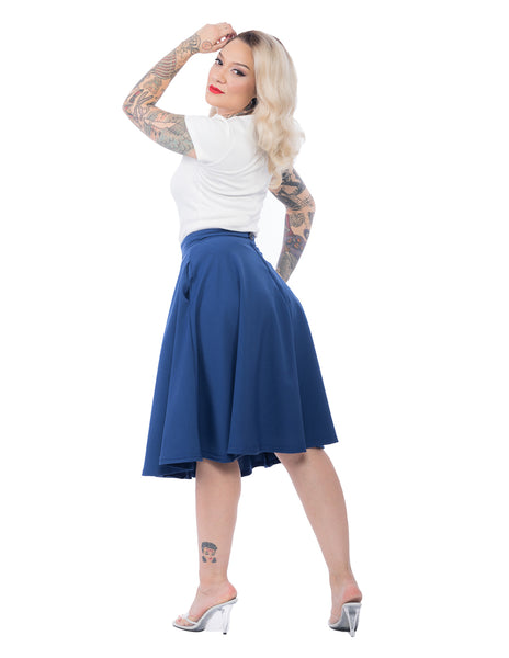 High Waist Thrills Skirt with Pockets in Royal Blue