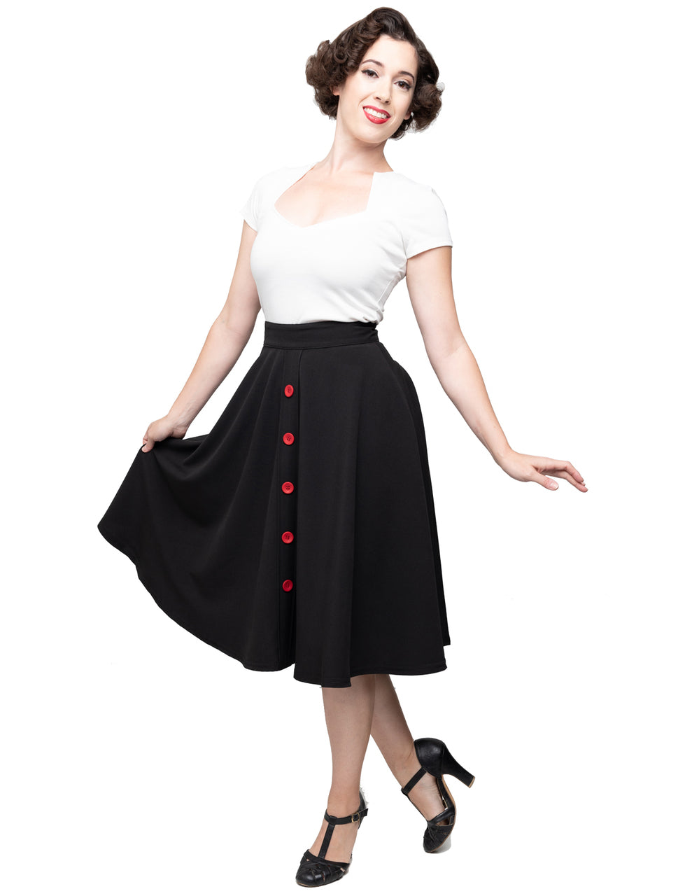 Button Thrills Skirt with Pockets in Black