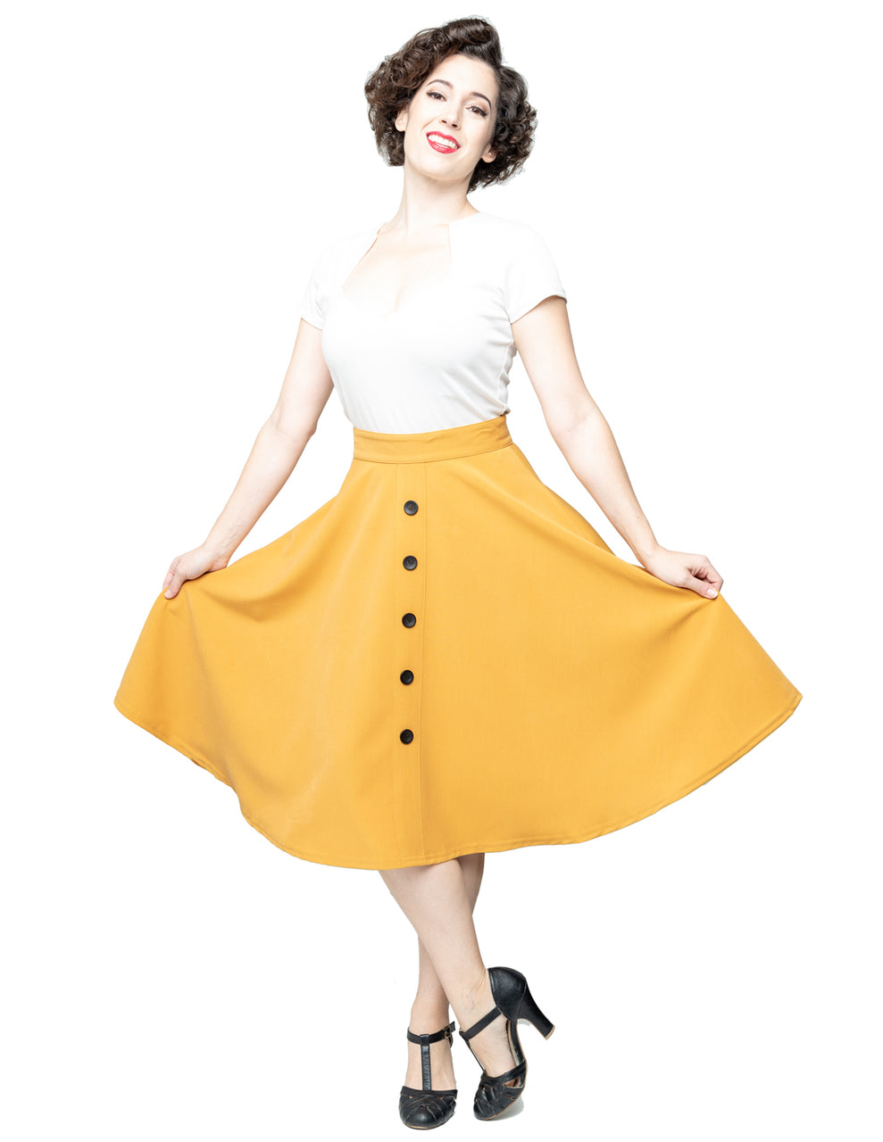 Button Thrills Skirt with Pockets in Mustard