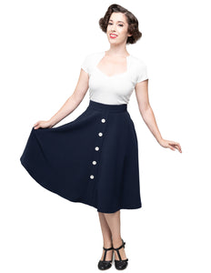 Button Thrills Skirt with Pockets in Navy