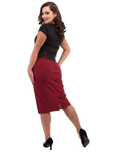 Wiggle Skirt in Burgundy with Belt