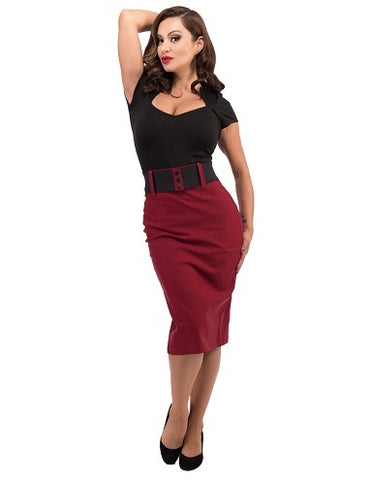 Pin-up wiggle skirt with belt in burgundy