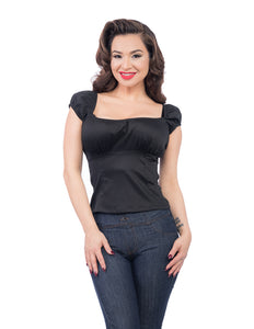 Pinup Rockabilly Bonnie Top in Black