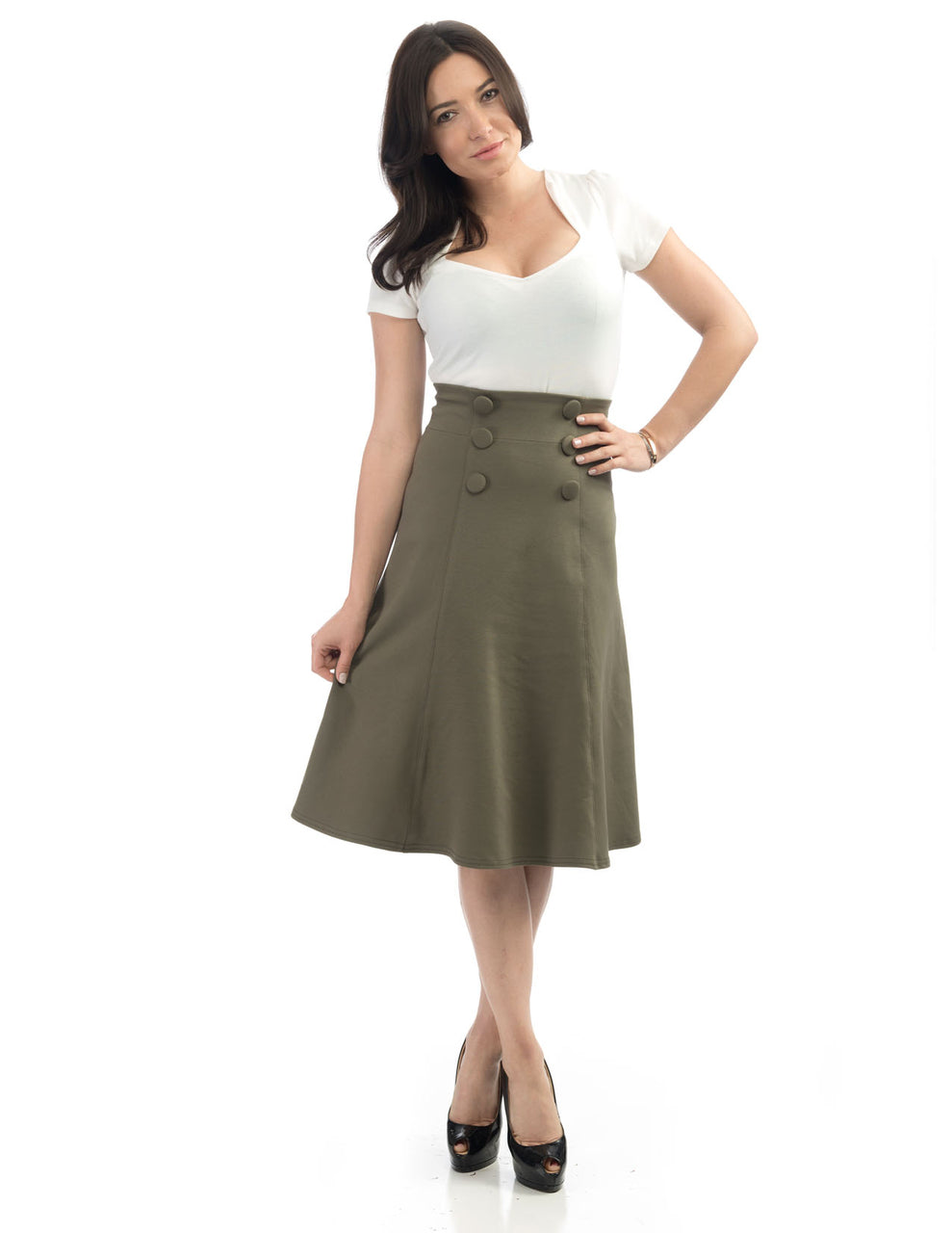 Nora Fit and Flare Skirt in Olive