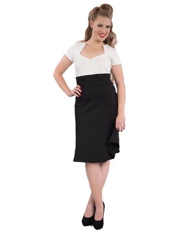 Nora Fit and Flare Retro Skirt Black
