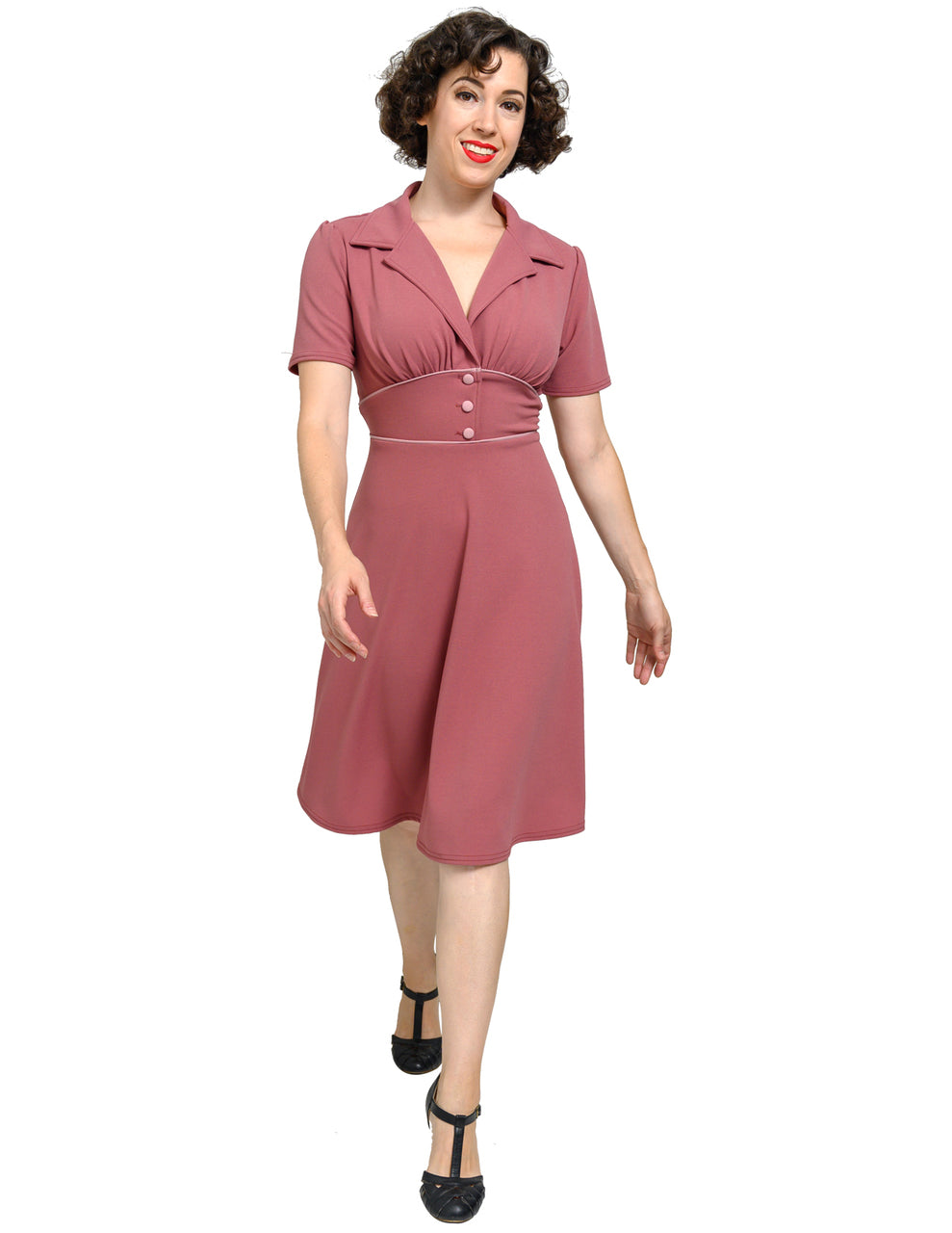 Katherine 40's Dress in Mulberry