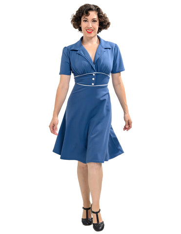 Katherine 40's Dress in Shadow Blue