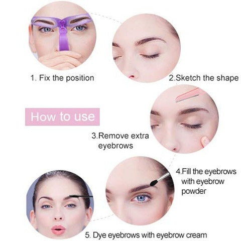 8 Styles Eyebrow Shaping Stencils Grooming Shaper Template Makeup Tool Kit