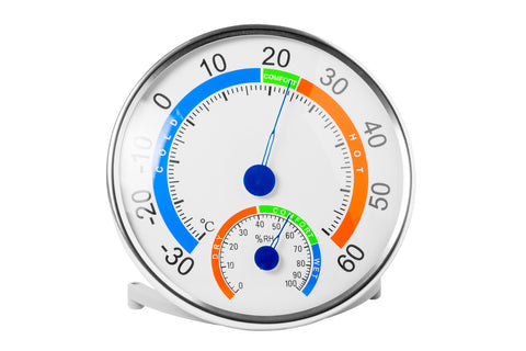 hygrometer shows a comfortable temperature and humidity