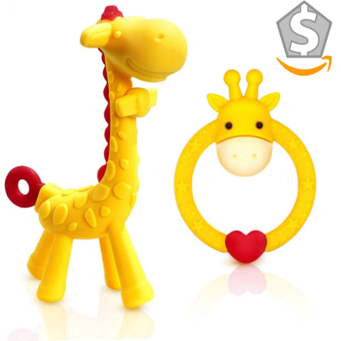 Silicone Giraffe and Giraffe Ring Baby Teething Toy