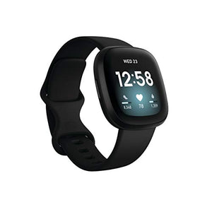 Fitbit Versa 3 Health & Fitness Smartwatch with GPS, 24/7 Heart Rate, Alexa Built-in, 6+ Days Battery, Black/Black Aluminum, One Size (S & L Bands Included)