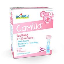 Load image into Gallery viewer, Boiron Camilia Baby Teething Relief Medicine, 30 unit-doses (1 ml each). Camilia relieves pain, restlessness, irritability, and diarrhea due to teething. Benzocaine-Free and Preservative-Free with Natural Active Ingredient, No Sugar, No Dye