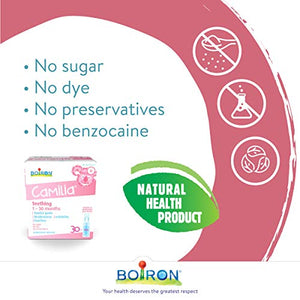 Boiron Camilia Baby Teething Relief Medicine, 30 unit-doses (1 ml each). Camilia relieves pain, restlessness, irritability, and diarrhea due to teething. Benzocaine-Free and Preservative-Free with Natural Active Ingredient, No Sugar, No Dye