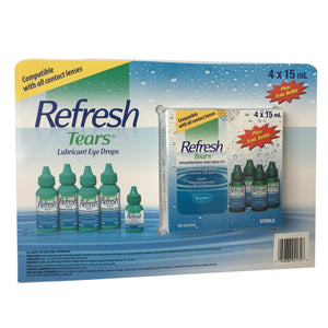 Refresh Tears Lubricant Eye Drops Multi-pack 4 bottles 0.5 oz (15 mL) each + 1 bottle 0.17 oz (5mL) sterile 65 mL total - Saveinstant