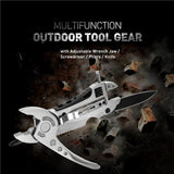 Multifunction Outdoor Tool Gear with Adjustable Wrench Jaw / Screwdriver / Pliers / Knife (Silver) - Oregon Art & Apparel