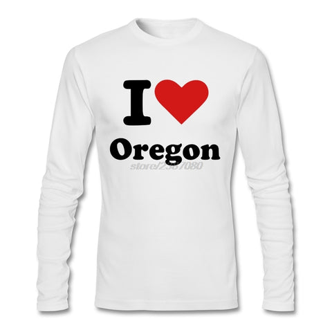 Oversize T-Shirt Love Heart Oregon Print T shirt Cotton Long Sleeved Clothes - Oregon Art & Apparel