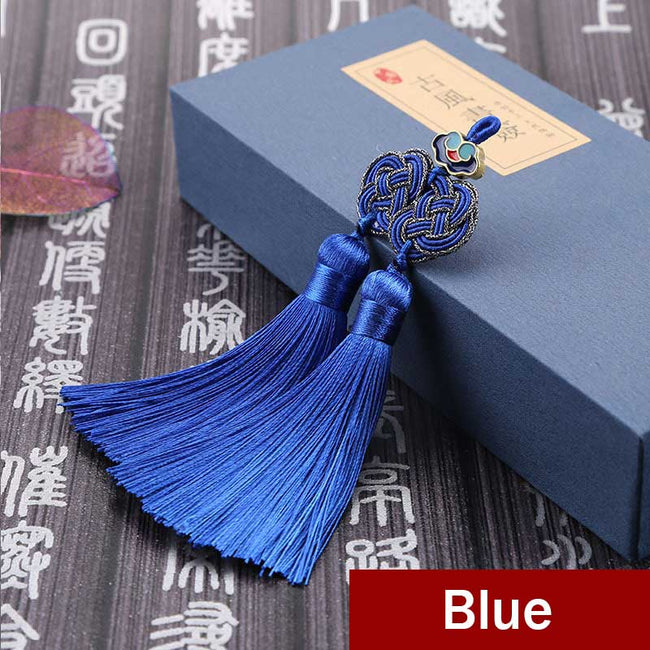 Double_Coin_Knot_Bookmark_Tassels_Blue
