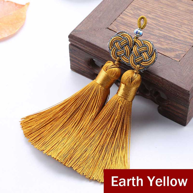 Double_Coin_Knot_Bookmark_Tassels_Earth_Yellow