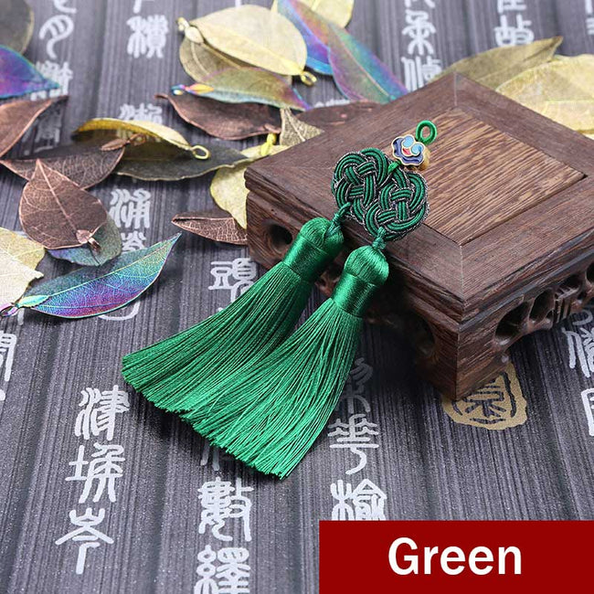 Double_Coin_Knot_Bookmark_Tassels_Green